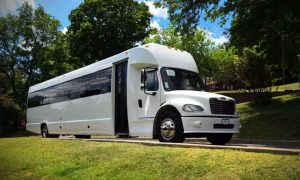 a white freight liner party bus